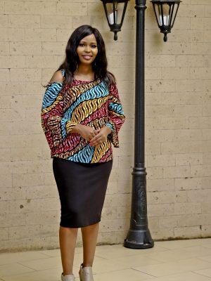 Cold shoulder African print top